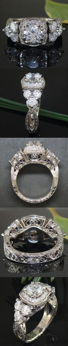Oh me oh my - this ring is straight up Edwardian! Custom made by Green Lake Jewelry Works which employs old world craftsmanship into their pieces, there is a level of immaculate detail that's increasingly difficult to find...#engagement and #jewelryworks