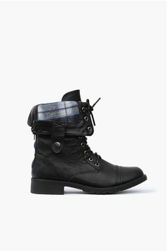 Black combat boots with flannel accent