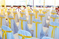 Citromsárga szalagos székszoknyák - Yellow ribbons chaircovers Ribbons, Yellow, Wedding, Valentines Day Weddings, Grinding, Weddings, Mariage, Marriage, Chartreuse Wedding