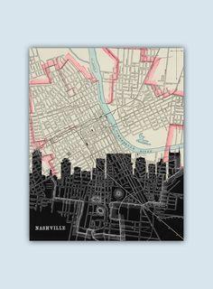 Nashville Skyline, Personalized Skyline Print, Nashville Decor, Nashville Poster, Nashville Map, Nashville Print,Nashville Art, Wedding Gift by GeographicArt on Etsy