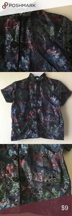 Beautiful kid's black Asian embroidered blouse Black Asian design blouse with beauiful and unique embroidery. Very unique, once in a once in a lifetime buy. Gently used, like new Shirts & Tops Blouses