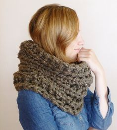 ANY COLOR Chunky Hand Knit Scarf Neckwarmer Cowl Loop Scarf Circle Scarf by BoPeepsBonnets, $48.00