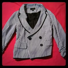 Kiss stripe forever 21 blazer Black and white striped blazer, with kiss sewn on the back.  Kiss Band Forever21 Beetle juice  Concert Work Forever 21 Jackets & Coats Blazers