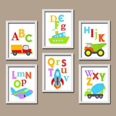 Colorful Boys Alphabet Cars Trucks Transportation Artwork Set of 6 Prints WALL Decor Abstract ART Bedroom Picture Child Crib NURSERY