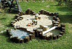 Adding stumps and other balancing elements creates a sand play area that is so much more than just a sand box. This appeals to a much wider age range than a 4'x4' box of sand (aka litter box)