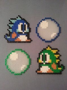 Bubble Bobble Perler Bead Figures by AshMoonDesigns