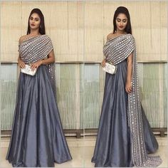Stunning grey floor length anarkali with mirror dupatta | Dupatta ideas for Indian brides | Indian bridal fashion | Dupatta draping ideas | Dupatta with mirror work | Outfit by Ridhima Bhasin | Every Indian bride's Fav. Wedding E-magazine to read. Here for any marriage advice you need | www.wittyvows.com shares things no one tells brides, covers real weddings, ideas, inspirations, design trends and the right vendors, candid photographers etc.