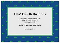 Paperless Post - Green Whale Border by Boatman Geller Paperless Post, Fourth Birthday, Rsvp, Whale, Invitations, Beach, Green, Cards, Seaside