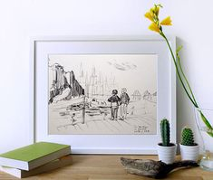 Original Charcoal Drawing · Peaceful Impressionist Art · Calming Home / Office Décor · Fine Wall Art Gift · San Sebastian Port Sketch
