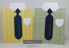 Video Tutorial - Men's Shirt and Tie Card. See how to use an Envelope Punch Board to make the tie for this fun masculine greeting card. Perfect for Father's Day. #stampinup www.jillstamps.com