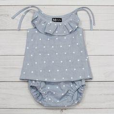 ღ¸.•❤ ƁҽႦҽ ღ .¸¸.•*¨*• blue baby set baby girl set linen bloomers baby girl
