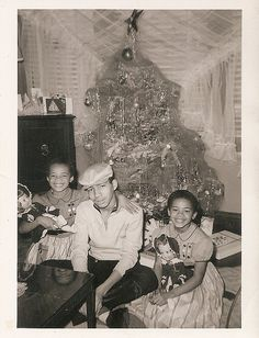 """Christmas in the 1950's - Is that """"Angels Hair"""" on the tree? I remember that stuff. My mom told me it was basicly spun glass and was very itchy."""