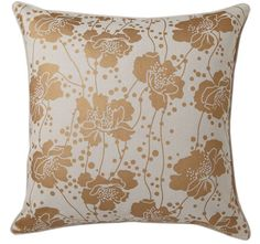 Spotted Floral Gold FLORENCE BROADHURST  Features: Polyester and cotton faux linen ground Printed Spotted floral pattern Plain cord piping Plain polyester and cotton faux linen reverse  Dimensions: x1 European Pillowcase - 65cm x 65cm - #pillowcases