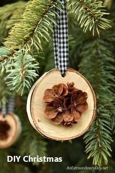 How To Make Simple Rustic Birch And Pine Cone Christmas Ornaments : Rustic Handmade Christmas Ornament for the Tree - Birch Wood Slices Display Pretty Hand Cut Pine Cone Flowers Handmade Christmas Decorations, Christmas Crafts For Kids, Xmas Crafts, Diy Christmas Ornaments, Homemade Christmas, Diy Christmas Gifts, How To Make Ornaments, Pine Cone Decorations, Tree Crafts