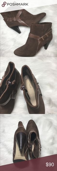 Cole Haan Suede Booties size 7 Brown suede leather booties with smooth leather straps and side zip. Size 7 Offers are welcomed Cole Haan Shoes Ankle Boots & Booties
