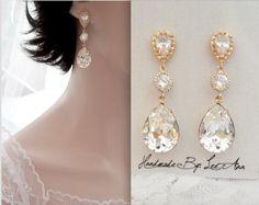 Gold wedding earrings,Gold crystal earrings,Brides earrings,14k gold over sterling posts,Swarovski crystal earrings, SOPHIA