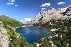View of Marmolada and Fedaia lake, Trentino Places In Italy, Places To See, Italy Vacation, Italy Travel, Places Around The World, Around The Worlds, Italy Magazine, Beautiful Places To Live, South Tyrol