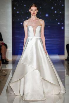 Look 8Strapless silk crepe plunge neck ballgown with layered gazar skirt detail