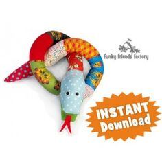 Silly Scrap Snakes INSTANT DOWNLOAD Sewing Pattern PDF