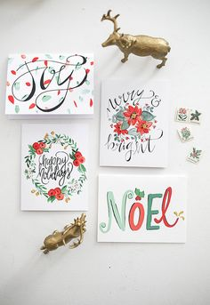 Holiday Greeting Cards - Watercolor Mixed Florals & Hand Lettering - Set of 8 Cards