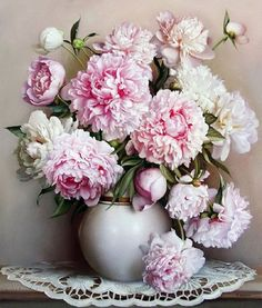 Items similar to Peony Bouquet Paint by Number Kit, Pink Flower DIY Painting Still Life picture on canvas paint coloring by number DIY Gift Painting on Etsy Art Floral, Deco Floral, Peony Flower, Flower Vases, Life Flower, Flower Oil, Cactus Flower, Oil Painting On Canvas, Diy Painting