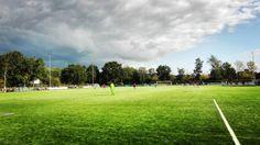 Rain is coming #rain #clouds #blue #sky #soccer #football #voetbal #grass #gras #uvs #phone #darkclouds #wolken #blauw #lucht #wedstrijd #leiden #netherlands #nederland #regen