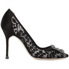 Manolo Blahnik Women 105mm Hangisi Lace Pumps (1,506 CAD) ❤ liked on Polyvore featuring shoes, pumps, black, black high heel pumps, pointy toe pumps, lace pumps, black shoes and black buckle shoes
