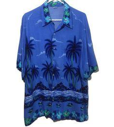 c4280c6d Hawaiian Shirt Blue Palm Trees Flowers Chest Pocket Aloha Cruise Size XXL
