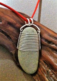 wire wrap stones | Beach: Wire Wrapped Lake Michigan Beach Stone - Necklaces
