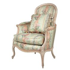Louis XV Painted Bergere  Mid 18th century  The arched padded backrest and loose cushion seat with voluted arm rests, raised on cabriole legs ending in scrolling toes.