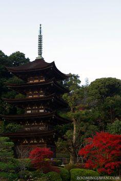 Pagoda of Rurikoji Temple in Yamaguchi City in autumn.