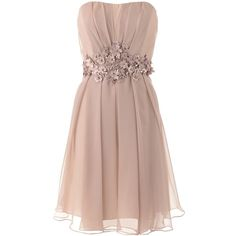 Barbara Schwarzer Nude Flower Dress ($405) ❤ liked on Polyvore featuring dresses, vestidos, robe, short dresses, mini dress, blossoms dresses, brown cocktail dress and nude dress