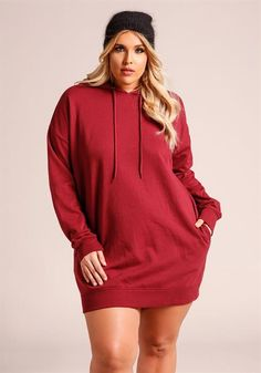 $24.95---3X---BURGUNDY---Plus Size Hooded Tunic Sweater Top