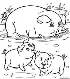 Animals Farm Animal Coloring Pages, Easy Coloring Pages, Disney Coloring Pages, Coloring Pages For Kids, Coloring Books, Art Drawings For Kids, Cartoon Drawings, Animal Drawings, Easy Drawings