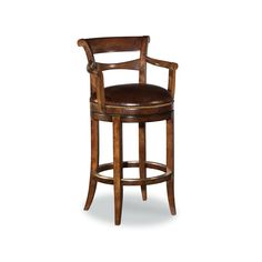 Woodbridge Furniture New Counter Stool Solid Hardwood Distressed Med Brown Finish Brown Leather Swivel Counter Stools, Kitchen Stools, Bar Counter, Kitchen Benches, Kitchen Dining, Home Bar Furniture, Furniture Styles, Bordeaux, Cocoa