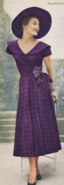 A gorgeous purple look from Dan River, which appeared in a 1949 copy of Vogue magazine. Women's vintage fashion photography photo image