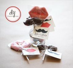 mustache and lips chocolate diy project