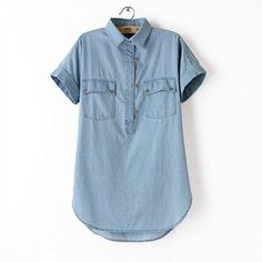 Women Denim Blue Classic Long Top, Short Sleeved