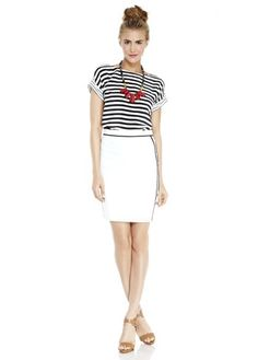 stripes, narrow white skirt, neutral shoes, striking necklace with a pop of color. hair up.
