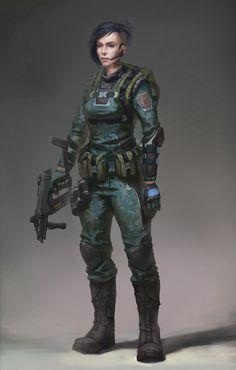 Sub machine Gun, Female Soldier Female Character Design, Character Concept, Character Art, Science Fiction, Cyberpunk Rpg, Future Soldier, Samurai, Star Wars Rpg, Futuristic Art