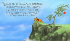 """Pooh Bear Logic """"Promise me yo'll always remember: You're braver than you believe, and stronger than you seem, and smarter than you think."""" - Christopher Robin to Pooh Great Quotes, Funny Quotes, Inspirational Quotes, Meaningful Quotes, Motivational Quotes, Empty Nest Quotes, Words Quotes, Wise Words, Sayings"""