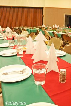 Hope your Holiday's are going great! Today I'm showing you a Tutorial on how to make some Paper Christmas Tree Centerpieces. I made these for a Church Christmas Party I was in charge of 2 years ago Christmas Party Centerpieces, Church Christmas Decorations, Christmas Party Table, Office Christmas Party, Xmas Party, Tree Centerpieces, Company Christmas Party Ideas, Christmas Buffet, Christmas Tablescapes