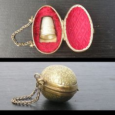 Victorian miniature egg shaped brass thimble holder chatelaine embossed flowers