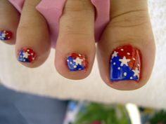 red, white and blue toe nails