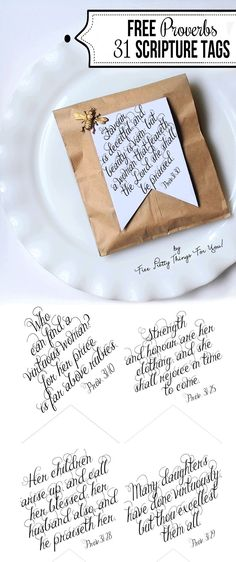 Printable Bible Verses: Proverbs 31 Tags - Free Pretty Things For You Mother's Day Church Proverbs 31 Scripture, Proverbs 31 Woman, Bible Scriptures, Bible Verse Calligraphy, Printable Bible Verses, Printable Quotes, Envelopes, Free Printables, Printable Banner