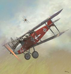 A LVG C.VI flown by Lieytenant Weymar Hasselhoff taking evasive action to avoid a patrol of RAF SE 5as in Late 1918
