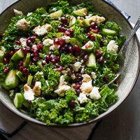 Feta and pomegranate kale salad