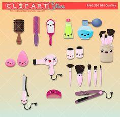 Hair Styling kawaii clipart  Hair dryer clipart vectors stickers