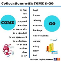 "We've come to a decision: we love collocations! A collocation is a pair or group of words that are used together. One example is ""come to a decision."" Check out our #AmericanEnglish graphic for other collocations that use the verbs ""come"" and ""go."" Can you use one or more of these in a sentence?"
