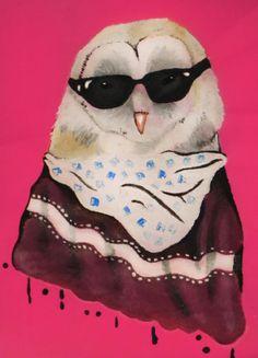 pintura para bolsa de tela buho con poncho